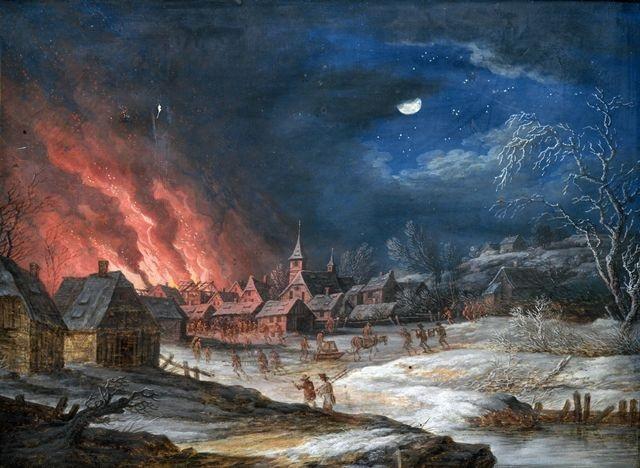 nächtliche feuersbrunst in einem winterlichen dorf by daniel van heil
