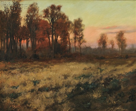 autumn landscape at dusk by charles courtney curran