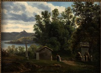vista sul lago d'orta by giovanni battista lelli