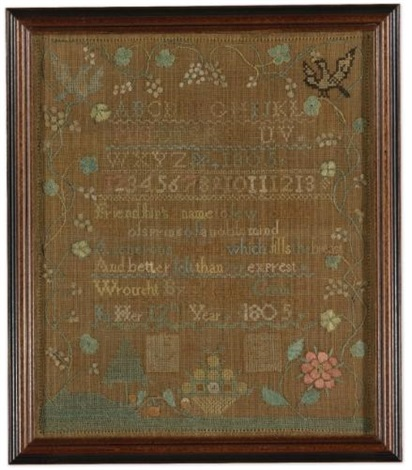needlework sampler celendai cram deerfield area massachusetts dated 1805