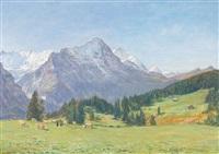 bergpanorama mit kühen auf der alp by adolf helmberger
