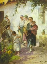 bauernfamilie in fröhlichem beisammensein vor dem haus by agoston acs
