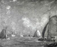 marinelandschaft mit segelschiffen und kutter by willem van dort