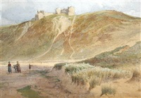view of pennard castle, gower peninsula, wales by edward duncan