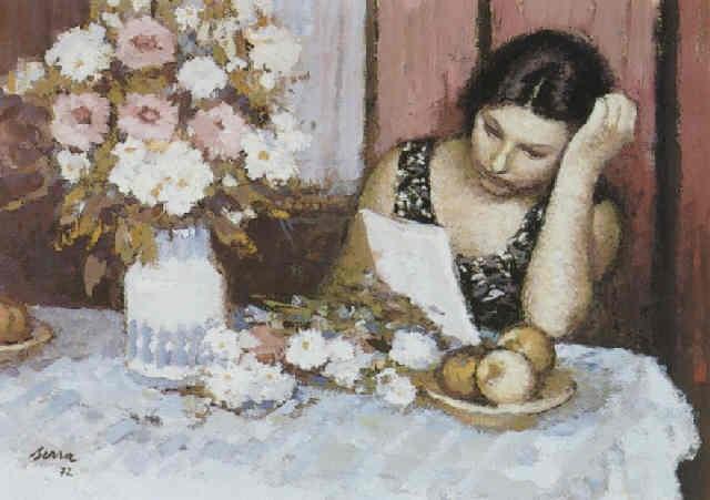 figura femenina leyendo, en un interior by francisco serra