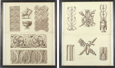 design for neo classical friezes and architectural ornament another pair by henry bailey