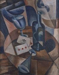 stilleben mit flasche und spielkarten by olga rozanova