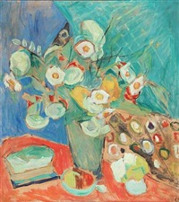 still life with white flowers by christine swane