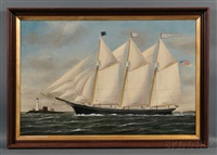 portrait of the three-masted schooner william r. huston with distant lighthouse by william pierce stubbs