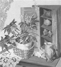 begonia and corner cupboard by sondra freckelton