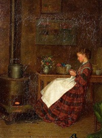 mending fireside by william henry snyder