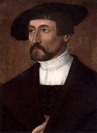 portrait of a man wearing a black cloth cap and brown cloak by christoph amberger