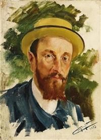 porträt eines herren mit sommerhut by jacques-marie omer camoreyt