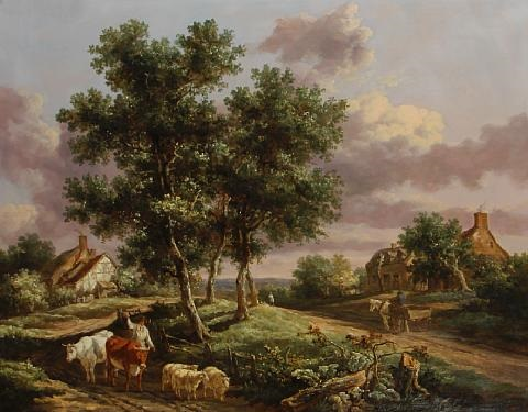 a landscape with a drover on a path with sheep and cattle cottages and travelers beyond by henry milbourne