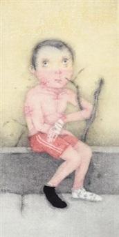 少年时代黑木崖 镜心 设色纸本 by zeng jianyong