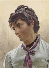 brustbild einer jungen italienerin, den kopf im dreiviertelprofil by franz leinecker
