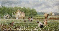 plantation scene with cotton pickers by american school-southern (19)