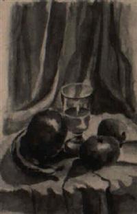 stilleben mit äpfeln und einem wasserglas by walter andreas angerer
