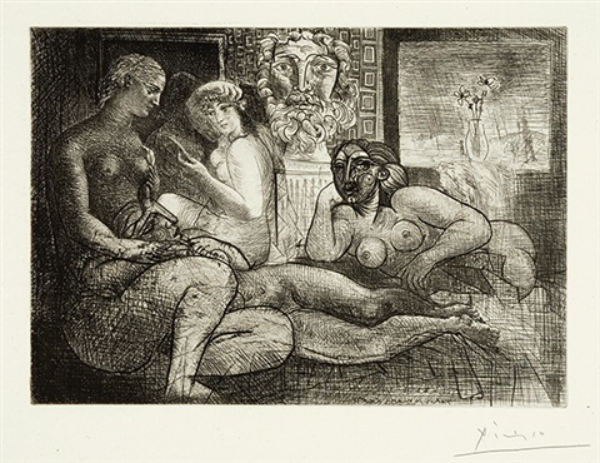 femmes entre elles avec voyeur sculpté - clin d'œil au bain turc, pl. 82 (from suite vollard) by pablo picasso