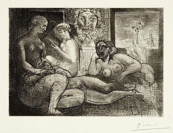 femmes entre elles avec voyeur sculpté clin dœil au bain turc pl 82 from suite vollard by pablo picasso
