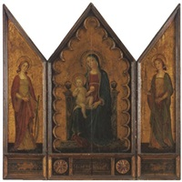 madonna and child with st. catherine and st. barbara (triptych) by romano antoniazzo