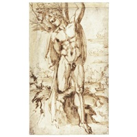a male nude tied to a tree (st. sebastian?), a river landscape beyond by baccio bandinelli