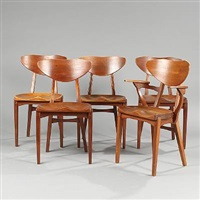 four side chairs and one armchair (set of 5) by richard jensen and kjaerulff rasmussen