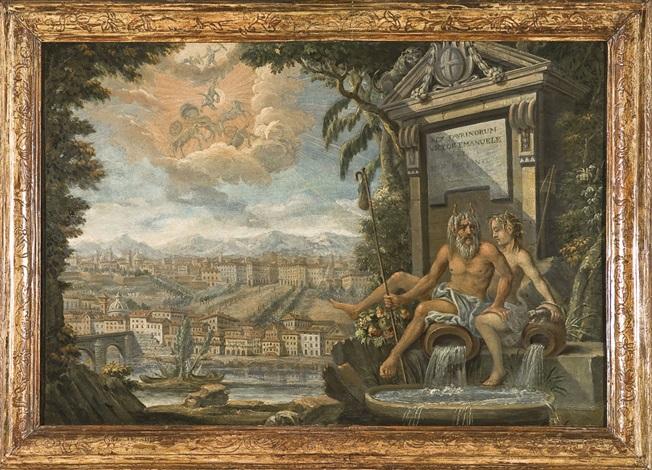 allegoria del po e della dora con veduta di torino e della caduta di fetonte nel po by italian school piedmont 19