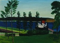 a scene with ferry berth from sallingsund by jens andersen sondergaard