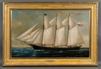 portrait of the three-masted schooner albertini adoue with distant lighthouse by william pierce stubbs