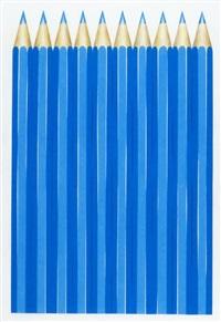 zehn blaue farbstifte by hermann camenzind