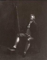 der maler heinrich wüst im atelier, vor seiner staffelei sitzend by heinrich freudweiler