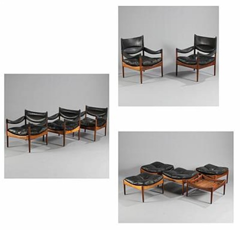 modus easy chairs, stools and tables (set of 10) by kristian solmer vedel