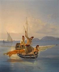 fischerboot in süditalienischer bucht by karl wilhelm von heideck