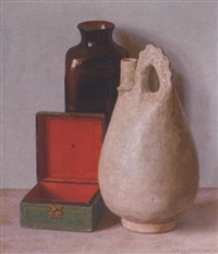 a still life with green box, a vase and a jug by hendrikus ijkelenstam