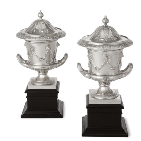 edwardian urns and covers pair by charles clement pilling