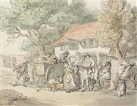 figures outside the horse and jockey tavern by thomas rowlandson