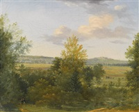 pastoral landscape with two travellers by achille etna michallon