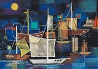 segelschiffe im hafen by rudolf ausleger