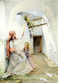 l'education de la vierge (+ pencil sketch, verso) by edouard-marie-guillaume dubufe