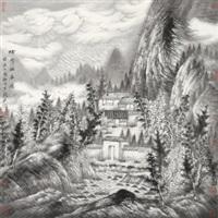 烟雨幽居图 镜心 水墨纸本 (painted in 2005 landscape) by zeng xianguo