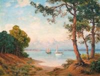 soleil couchant sur la baie d′arcachon by lucien simonnet