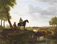 farm hands tending cattle in a river landscape by ramsay richard reinagle
