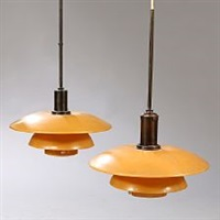 ph-4/4 pair of pendants by poul henningsen
