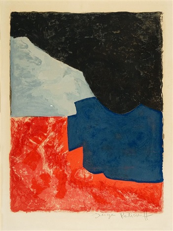 composition rouge grise et noire by serge poliakoff