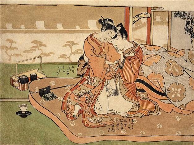 ein liebespaar sitzt auf einem futon auf der matratze liegen eine pfeife und ein tabakoire neben dem bett ein tabakobon und eine teetass chûban by isoda koryusai