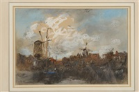 landscape with a windmill by hercules brabazon brabazon