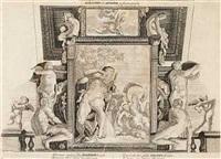 hyacinthus, apolline, polyphemus og galatea. dekoration til palazzo farnese i rom (after annibale carracci) by petrus aquila