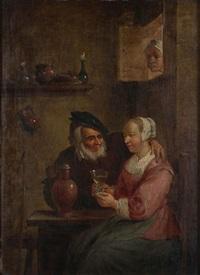 intérieur d'auberge animé d'un vieil homme et d'une servante by david teniers the younger