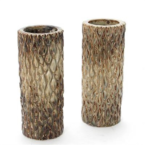 cylindrical vases modelled in budded style (pair) by axel johann salto